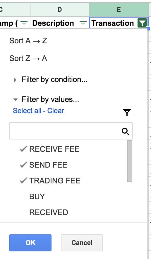 Fees filter