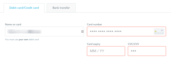 Transferwise debit card