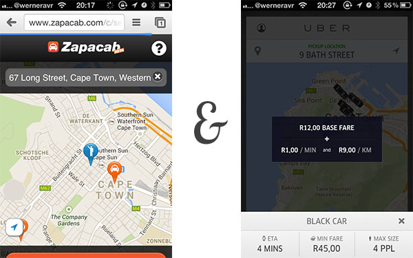 Uber and Zapacab in Cape Town