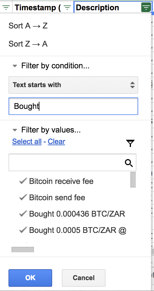 Google sheets filter